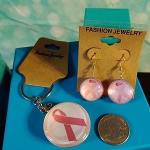 Pink ribbon keyring and earrings